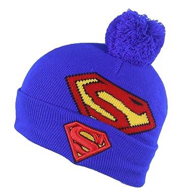 Boys Fancy Dress Comic Super Hero Winter Warm Turn Up Beanie Ski Hat Blue 4e7a55319c45