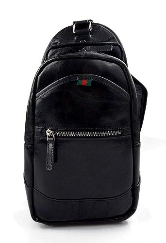 Bolso mochila negro de cuero bolso de hombre bolso de mujer mochila de piel bolso de