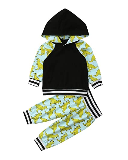 ca6c92c75 Amazon.com: MA&BABY Toddler Infant Baby Boys Dinosaur Long Sleeve Hoodie  Tops Sweatsuit Pants Outfit Set: Clothing