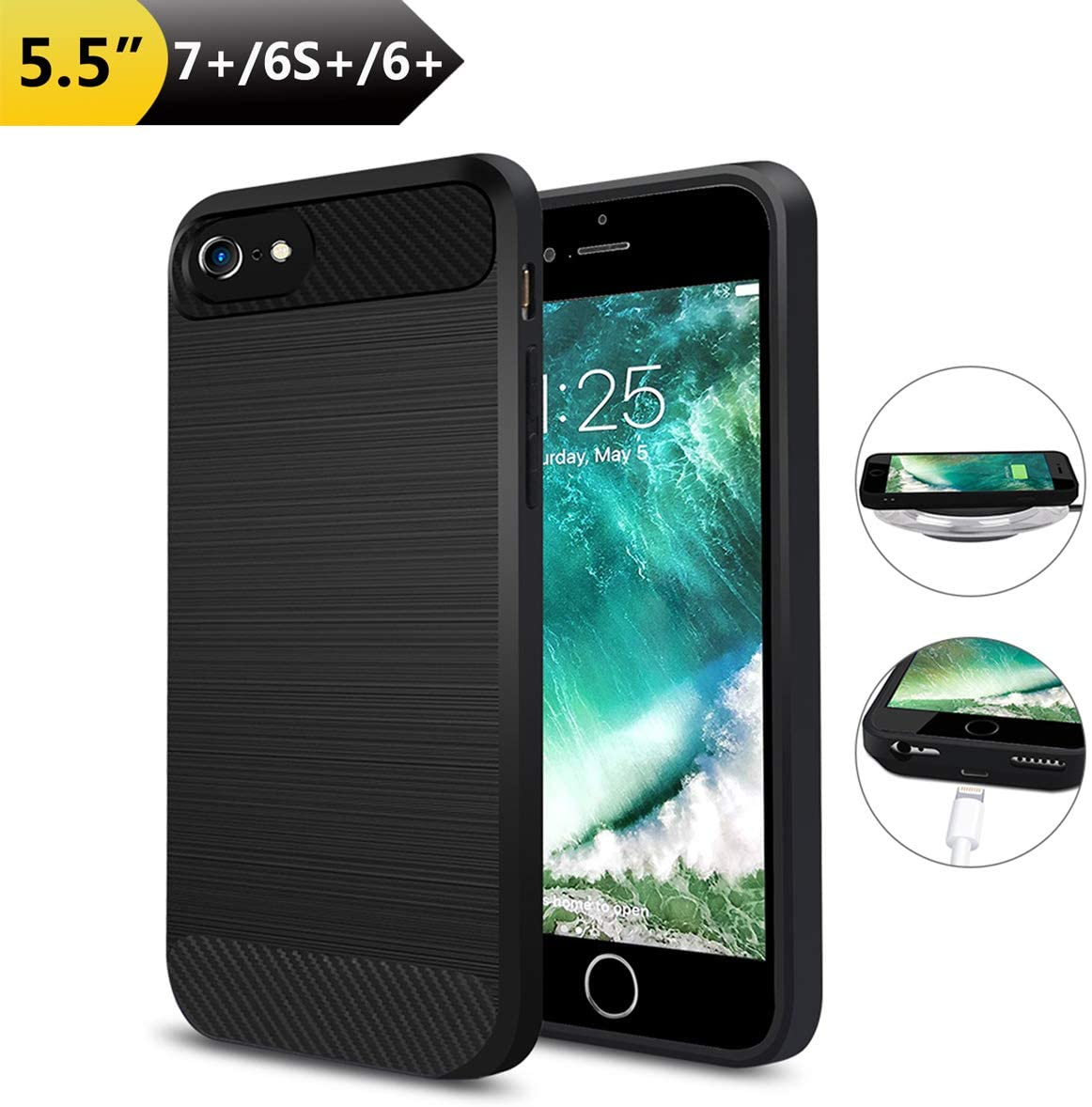 "ANGELIOX Wireless Charger Charging Case for iPhone 7 Plus/6S Plus/6 Plus(Only for Plus), Qi Wireless Charging Receiver TPU Protective Phone Cover,Brushed Surface(Not Battery-5.5"")"