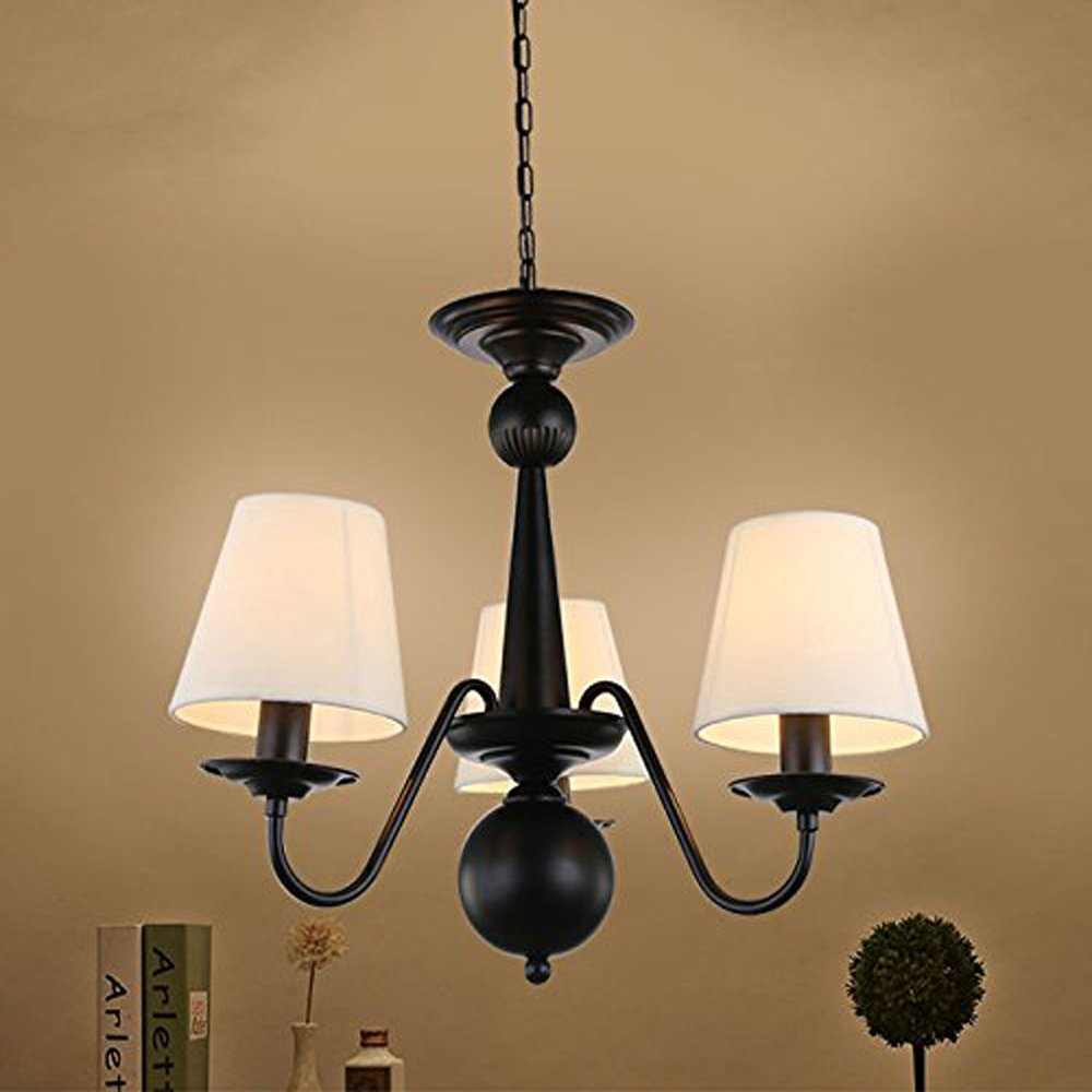 Cloth Cover American Chandeliers Pendant Lighting 3 Lights Antique Black Wrought Iron Ceiling Lamp Fixture Modern White Fabric Lampshade for Restaurant, Dining Room, Living Room