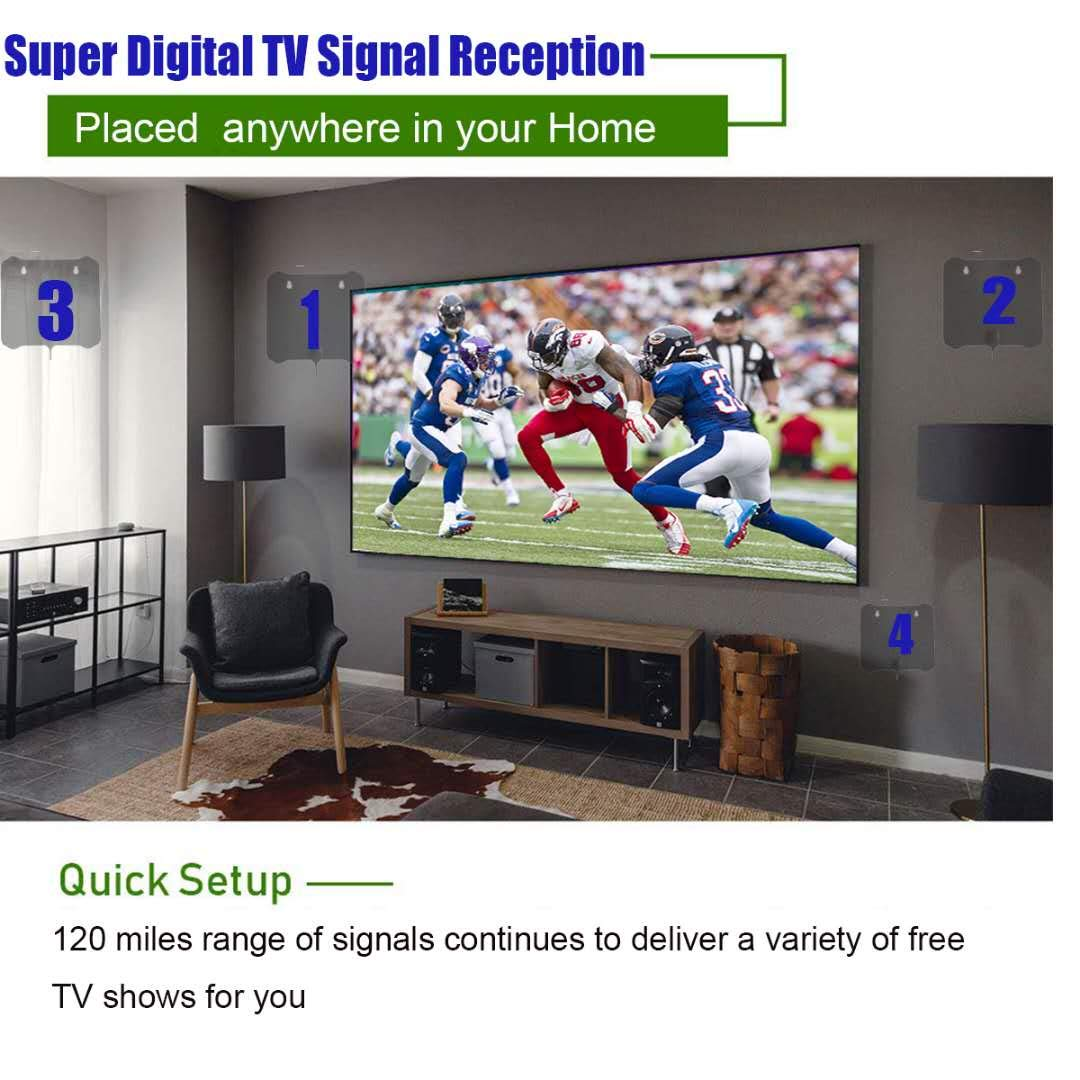 [2019 Latest ] HD Digital TV Antenna Long 100 Miles Range – Support 4K  1080p and All Older TV's Indoor Powerful HDTV Amplifier Signal Booster -  13 5ft
