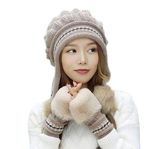 4a9230cabbe BSGSH Women Winter Hat and Glove Set