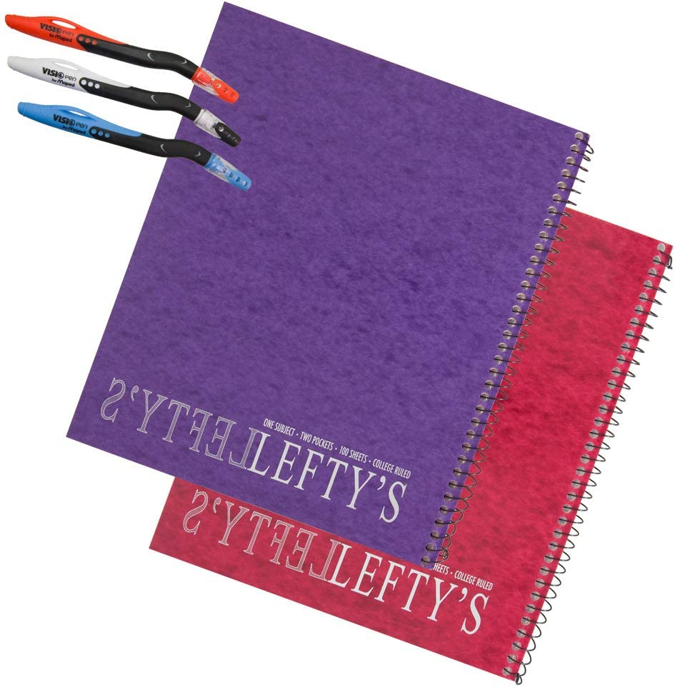 2 Left-Handed College Ruled Notebooks with Mirrored