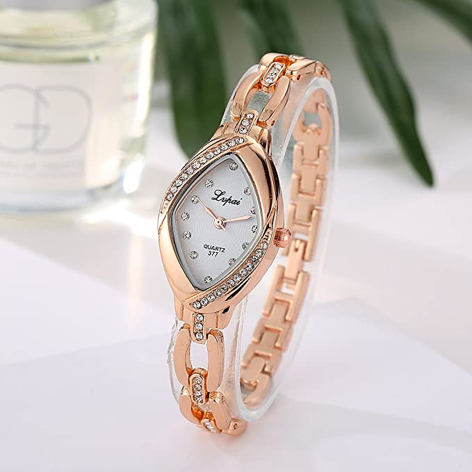 Amazon.com: Lvpai Rhombic Bracelet Watch Ladies with Diamonds Analog Quartz Movable Band Rose Gold P128-3…: Watches