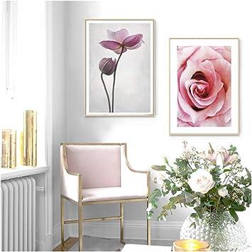 AIYAYA Cuadro de Arte de Pared Cuadro de Flor Rosa póster