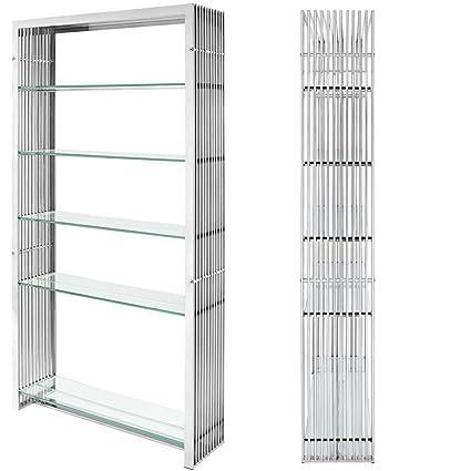 Amazon.com: Metallic Bookcase Midcentury Metal Stainless Steel ...
