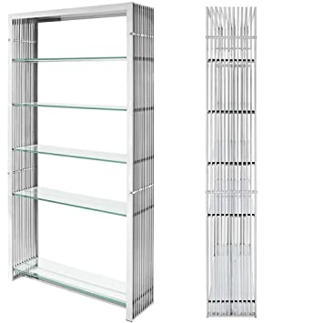 Metallic Bookcase Midcentury Metal Stainless Steel Bookshelf Living Room  Display Vertical Shelving Unit Modern Contemporary Wire