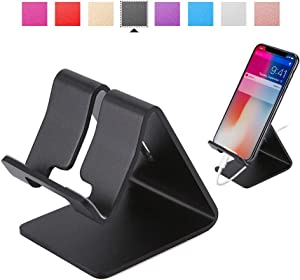 Rumfo Cell Phone Stand Universal Portable Aluminum Desktop Charger Mount Holder, Metal Tablets Dock Cradle for iPhone 11 X 8 7 6 Samsung Galaxy s10 9 All Smartphone (Black)