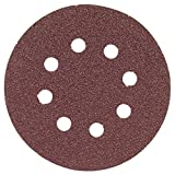 Bosch SR5R080 Random Orbit Sander Hook and Loop 8 Hole Disc 5-Inch 80 Grit Sand Paper, Red, 5-Pack