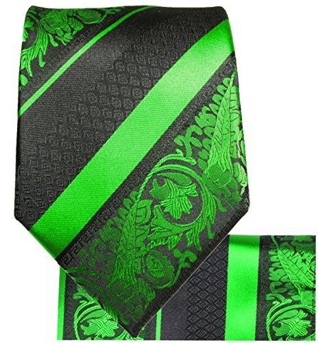 Cravate homme vert noir rayée ensemble de cravate 2 Pièces ( 100% Soie Cravate + Mouchoir )