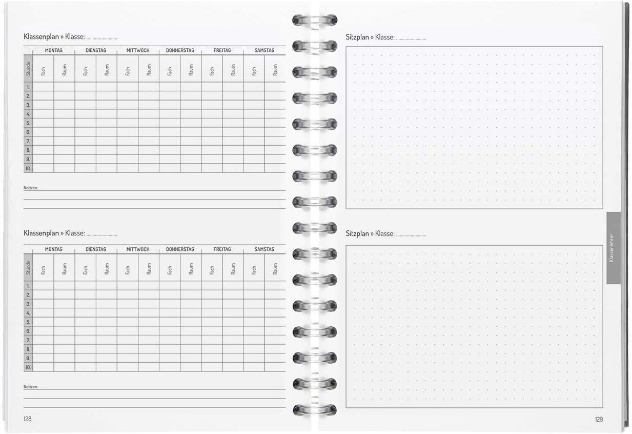 DIN A5 Lehrerkalender f/ür alle Klassenstufen Ringbindung Ferienkalender /& Stundenpl/änen PERSEN Schuljahresplaner 2020//21 Panda Dots 200 Seiten mit Halbjahreskalender