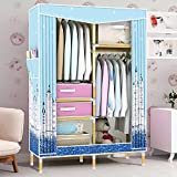 HHAiNi Portable Wooden Clothes Closet Waterproof Oxford Cloth Wardrobe, Double Rods Storage Organizer Cabinet, Free 2 Drawers