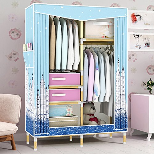 HHAiNi Portable Wooden Clothes Closet Waterproof Oxford Cloth Wardrobe, Double Rods Storage Organizer Cabinet, Free 2 Drawers ()