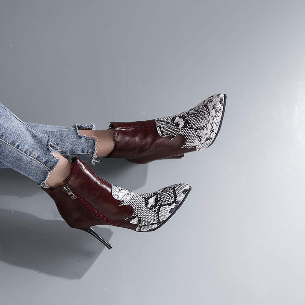 ZHRUI Frauen High Heel Martin Stiefel, Damen Pu Leder Leder Leder Reißverschluss Schlangenhaut Ankle Schuhe Casual Outdoor Stilvolle für Winterwandern (Farbe   Wine, Größe   5.5 UK) 8f002b