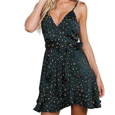 IZZB Mode Damen Sommer Partykleid Leopard Druck Sling Feiertag Mini Freizeitkleid Abendkleid Cocktailkleid Kleider