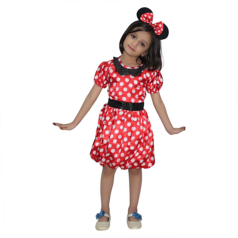 Ladies Girls Mini Mouse Fancy Dress Disney Theme Polka Dot White Red Costume