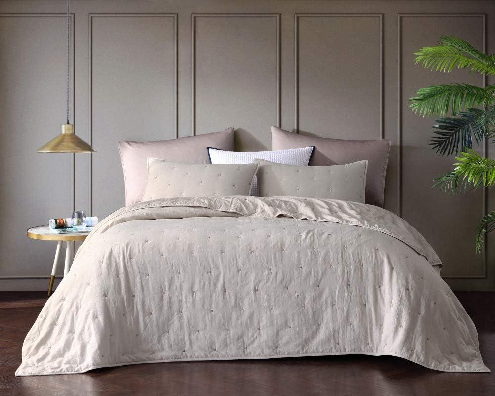 Bourina Reversible Bedspread Coverlet Set - Pre-Washed Microfiber Ultra Soft Lightweight Star Quilted 3-Piece Quilt Set King, Beige