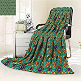 AmaPark Digital Printing Blanket Orange India Design rs Print Fern Green Marig and Summer Quilt Comforter