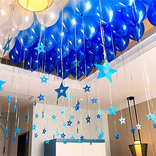 12 In Dark Light Blue And White Balloons Foil Star Hanging String Romantic Decorations Wedding Valentine S Party Supplies Pack Of 100