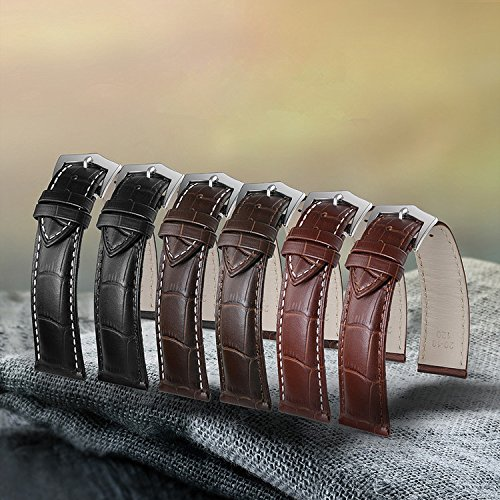 17mm Premium Dark Brown Watch Leather Band Replacement Top Layer Cowhide Rectangular Scales Rose Gold Pin Clasp by autulet (Image #3)