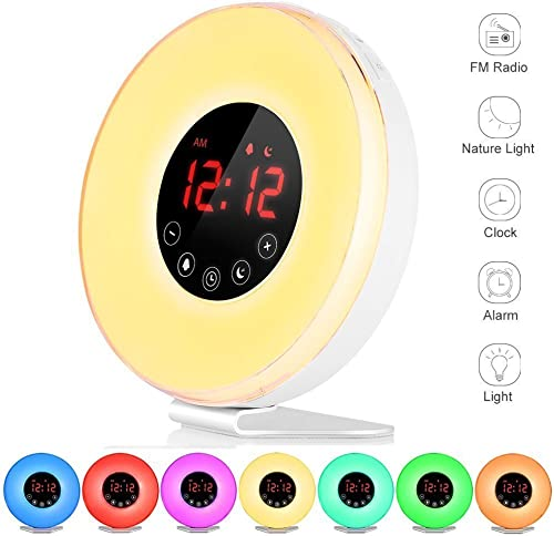Wake Up Light Sunrise Alarm Clock – Digital LED Clock with 6 Color Switch and FM Radio for Bedrooms – Multiple Nature Sounds Sunset Simulation Touch Control – With Snooze Function for Heavy Sleepers