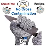 Dowellife Cut Resistant Gloves Food Grade Level 5 Protection, Safety Kitchen Cuts Gloves for Oyster Shucking, Fish Fillet Processing, Mandolin Slicing, Meat Cutting and Wood Carving. (Large-2 Pairs)
