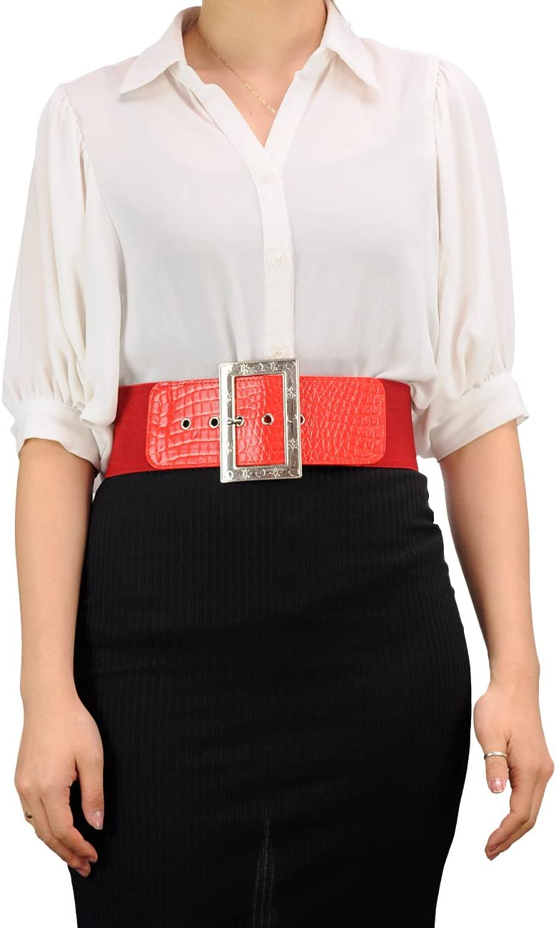 Womens Square Buckle Faux Leather Fashion Belt-EF23-Red-M