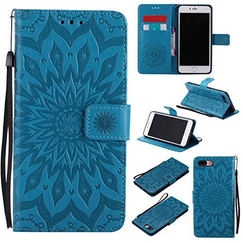 Price comparison product image iPhone 8 Plus Case, Binguowang PU Leather Flip Wallet Case Emboss Sun Flower Pattern Folio Magnetic Protective Cover Case with Card Slots for Apple iPhone 8 Plus 2017/iPhone 7 Plus 2016. (Blue)