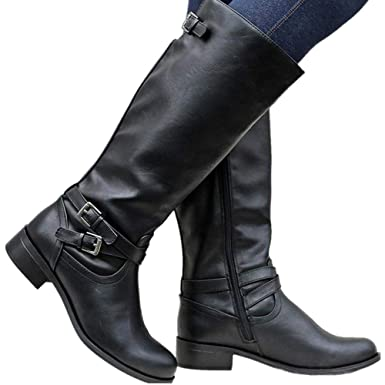 9049b52c1b2 Image Unavailable. Image not available for. Color  Meilidress Womens Wide  Calf Winter Cowgirl Boots Tall Riding Leather ...