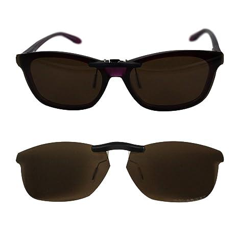 c0c83f23bd Custom Polarized Clip On Sunglasses for Oakley Taunt 52 OX1091 52-16-130  (Brown) - - Amazon.com