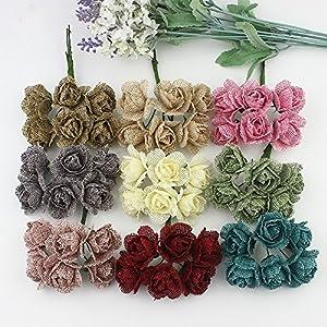Silk Rose Artificial Flowers Bouquet Burlap Hessian Flower for Wedding Decoration Scrapbooking Craft DIY Wreaths 24pcs 78