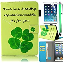 Wallet Case for Samsung Galaxy Tab E 9.6, Bonice Colorful Painted Pattern Leather Stand Folio Wallet Case with Card Slots Protective Cover for Tab E 9.6 Inch Tablet (SM-T560 / T561 / T565 & SM-T567V Verizon 4G LTE Version) - Lucky Clover