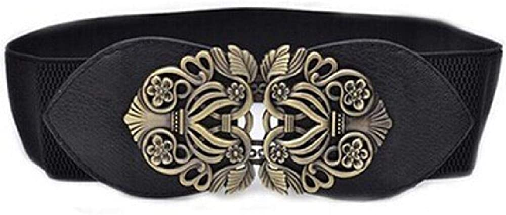 JCG Cinturón de mujer Vintage Lady Print Flower Wide Elastic Stretch Buckle Ornament Laies Cintura Cinturón de metal Cintura