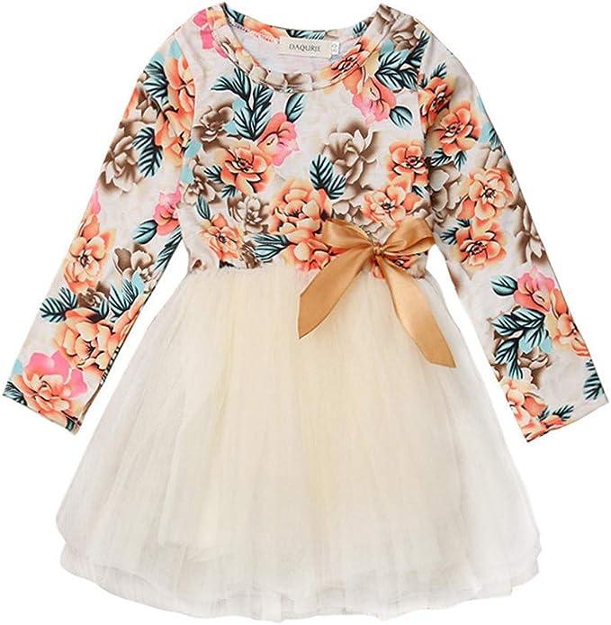 Fartido Vestido de Manga Larga para bebés y niñas diseño de Princesa tutú