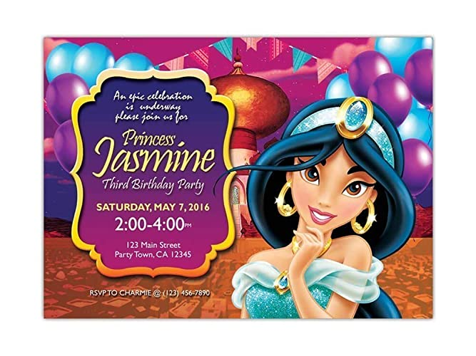 Custom Princess Jasmine Birthday Party Invitations For Kids 10pc 60pc 4x6 Or 5x7 Cards With White Envelopes Printed On Premium 265gsm Card