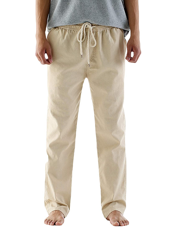 Pishon Mens Beach Pants Casual Drawstring Soft Breathable Linen Summer Pants
