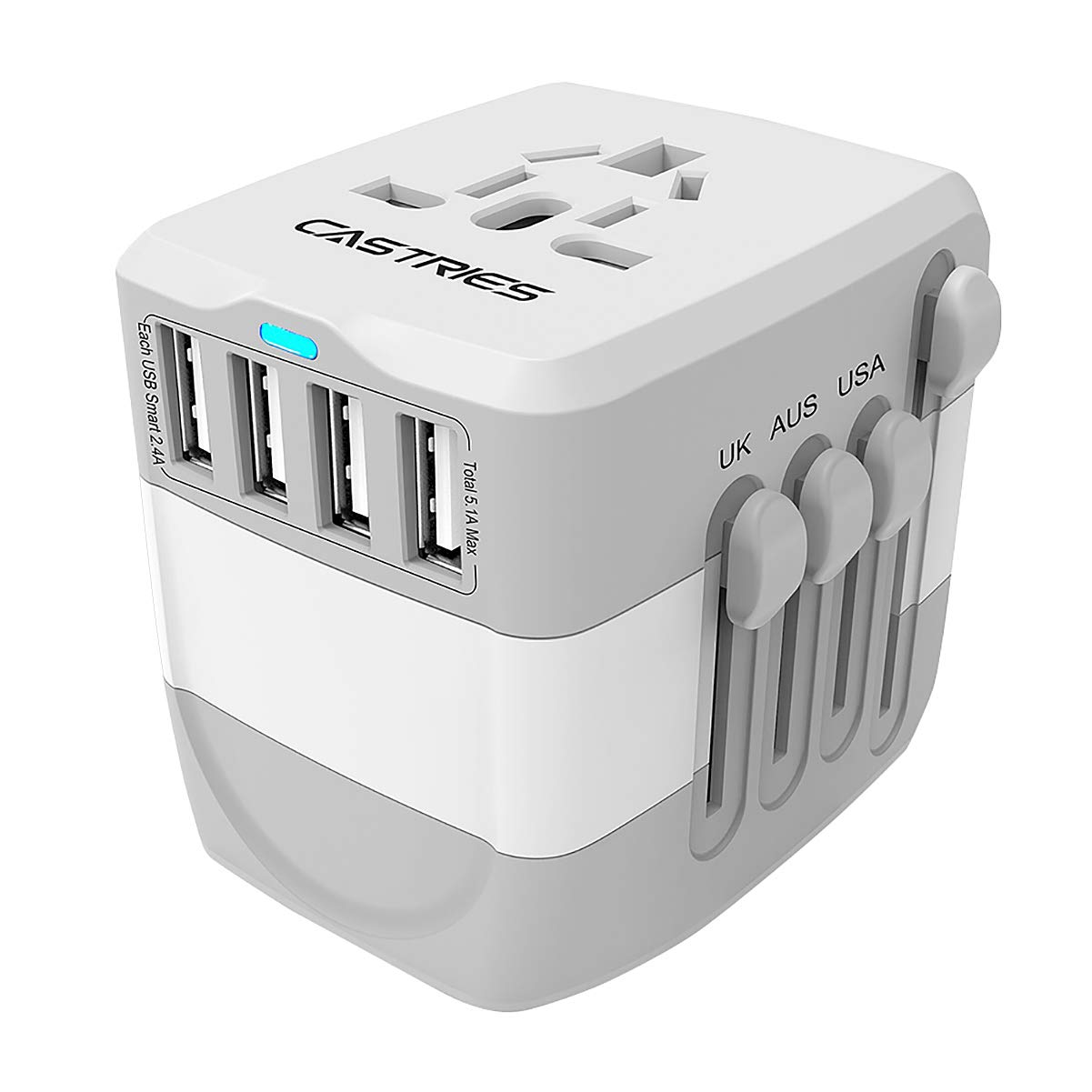 Castries European Adapter,2300W high Power Travel Adapter with 4 USB Charging Ports for International Power adapters in More Than 170 Countries (Gray White)