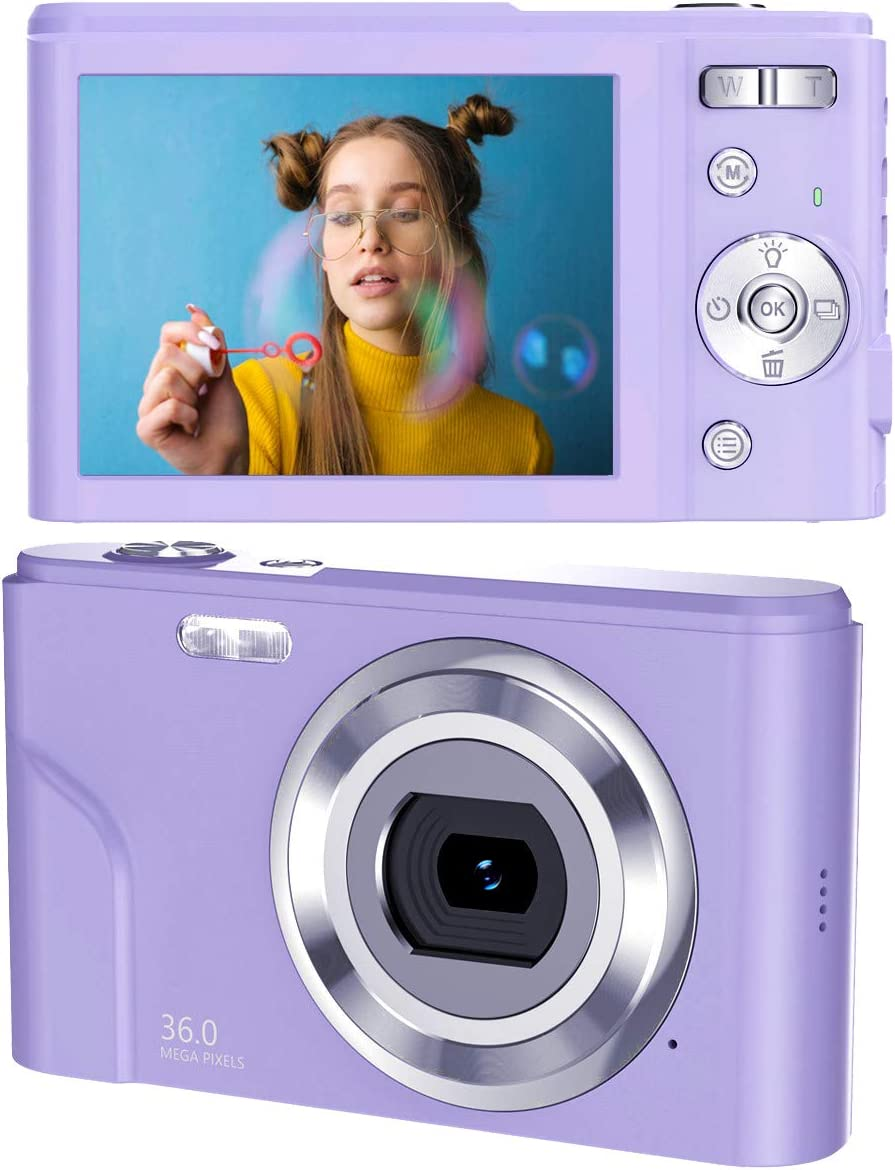 toberto HD Digital Camera, 2.7K Vlogging LCD Mini Camera with 16X Zoom 44MP 2.88 inches Digital Point and Shoot Camera Video Camera, for Kids Students Beginners Beauty Face (Purple)