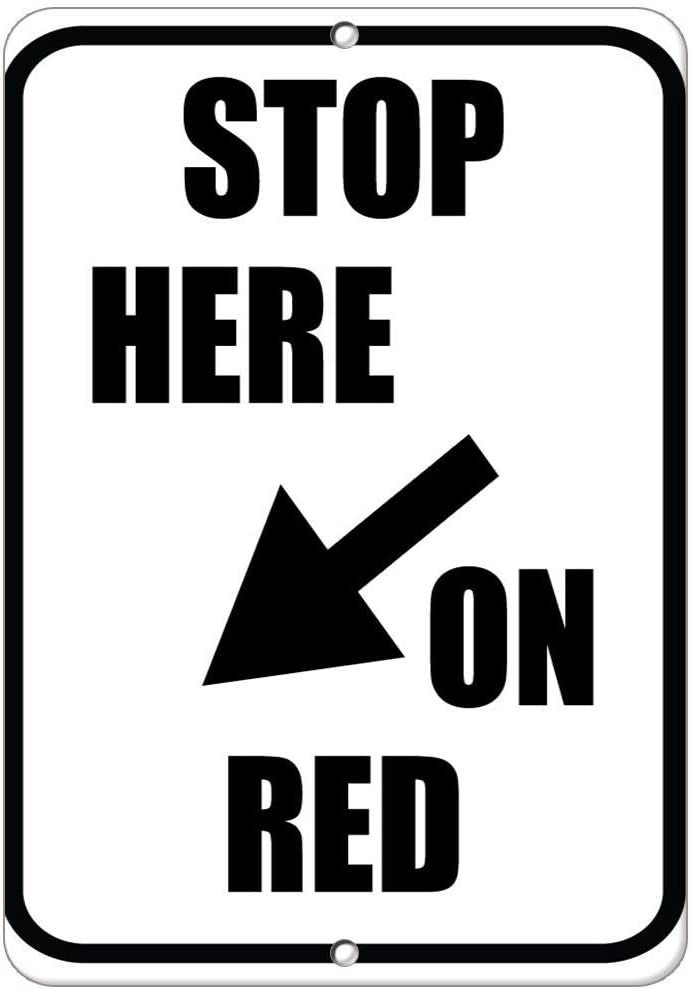 Amazon Com Stop Here On Red With Left Arrow Traffic Sign Label Decal Sticker Sticks To Any Surface 9x12 In Office Products