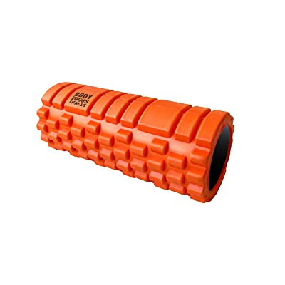 Foam Roller with Grid Design + FREE Ultimate Guide - Body Focus Fitness Deep Tissue Massage, Trigger Point Relief, Myofascial Release - Best for Yoga, Pilates, Recovery, Rugby, Core Workout -33cmx14cm- 100% Guaranteed Satisfa