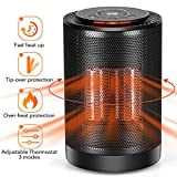 LONOVE PTC Space Heater - Portable Ceramic Heater for Office Bedroom Kids Baby Room Garage Car RV Desk Mini Area, Small Personal 1200W/600W Electric Heater Indoor with Thermostat Oscillation Tip-Over