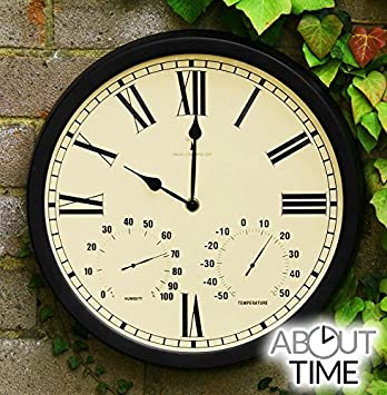 Great About Time Radio Controlled Outdoor Garden Clock With Thermometer And  Hygrometer   35cm (13.7u0026quot;