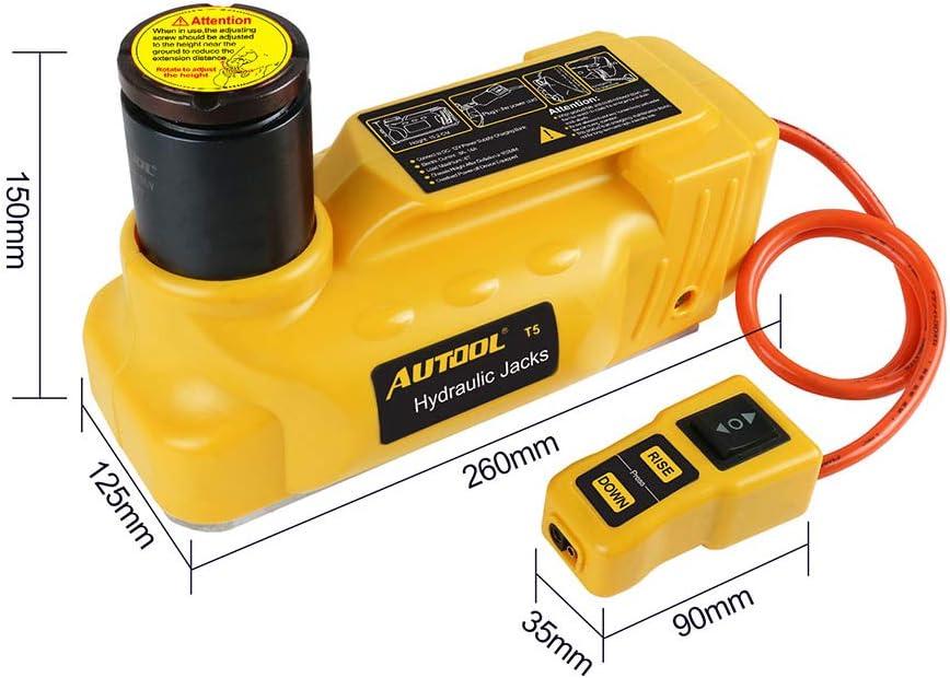 AUTOOL Cric hydraulique /électrique Portable 12 V 6 T pour r/éparation de pneus de Voiture et de Roues