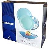 Servicio completo de platos con 18 piezas. Juego para 6 personas de Luminarc. Modelo Lalie con decoración azul celeste en cristal ópalo de Arcopal.