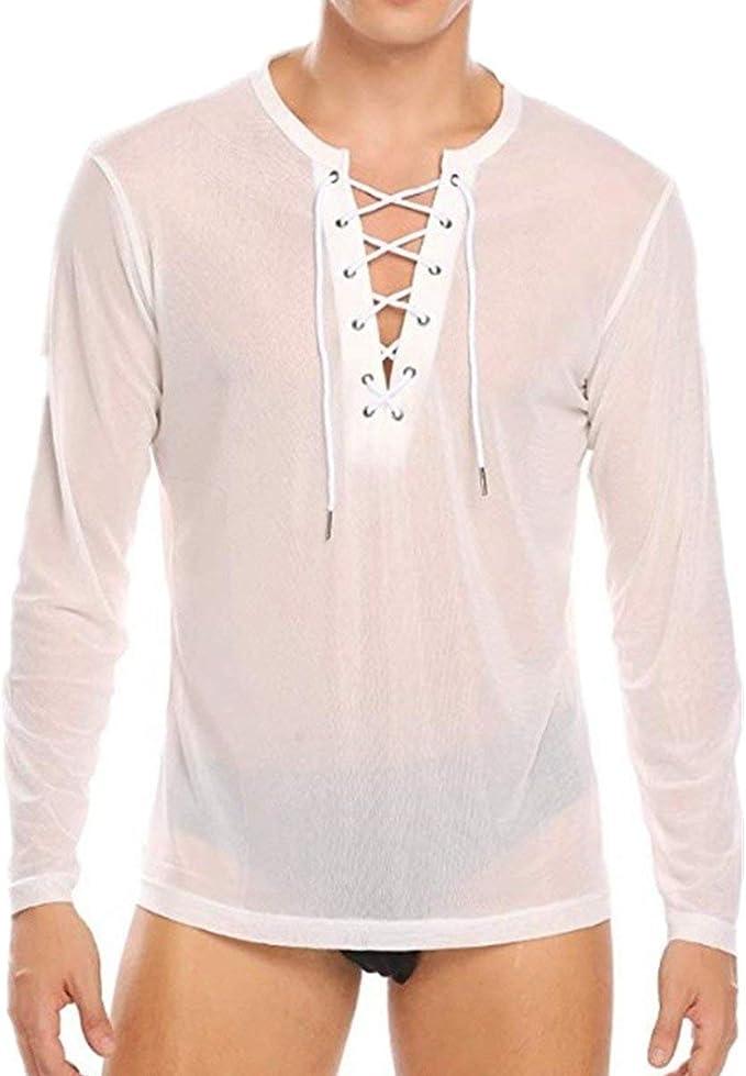 Camisa De Manga Larga para Hombre Festival Malla Transparente de Moda Slim Fit T Shirt Hombres N para Hombre Tops Club De Fiesta Camiseta Debajo del Calentamiento Sche: Amazon.es: Ropa y accesorios