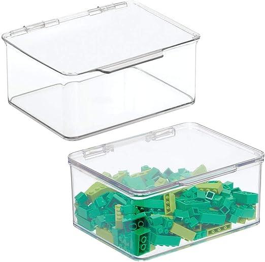 mDesign Juego de 2 cajas de almacenaje con tapa – Organizador de ...