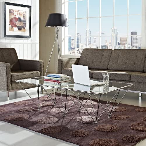Modway Prism Modern Tempered Glass Rectangular Coffee Table With Geometric Metal Base In Clear