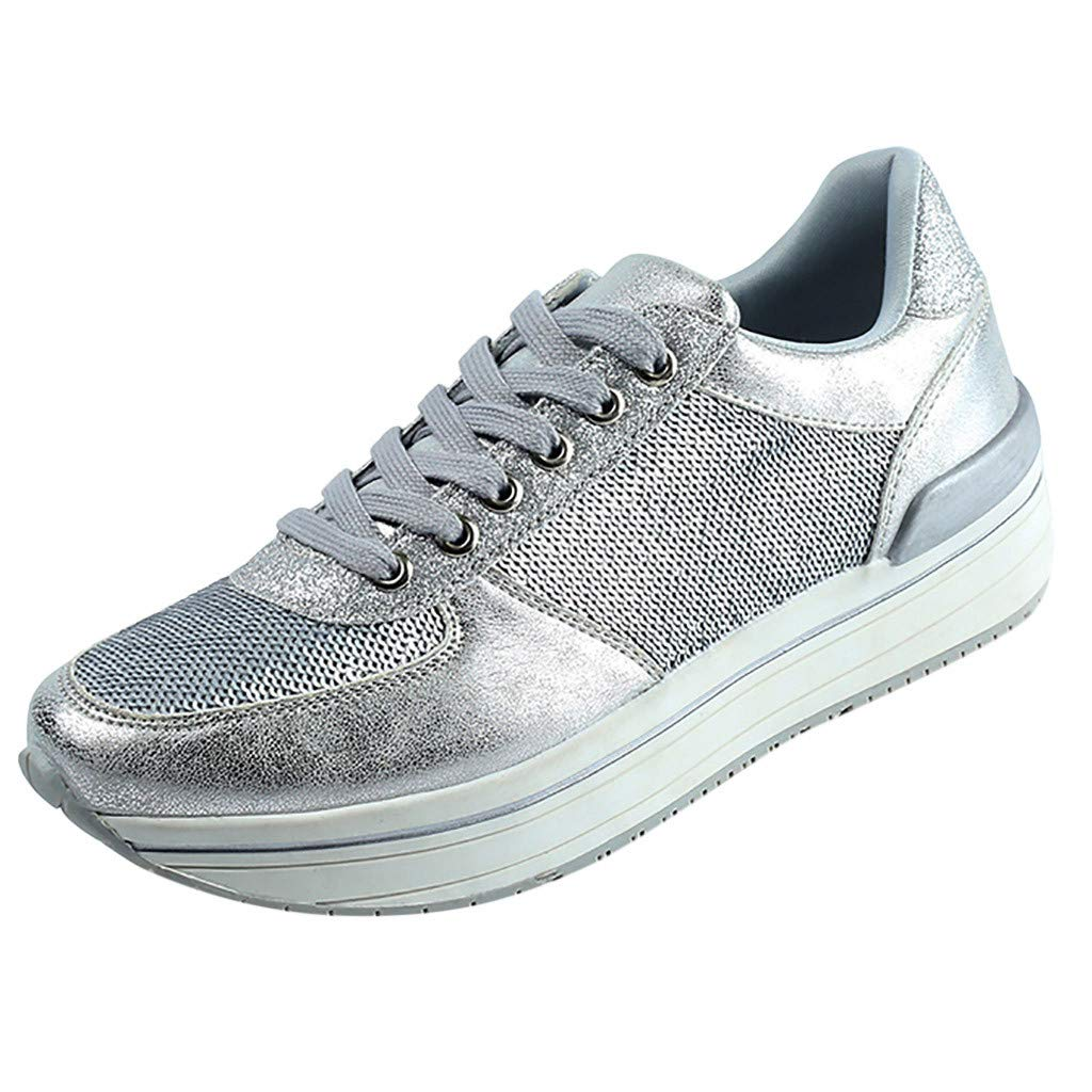 VonVonCo Women's Autumn Fish Scales Casual Sports Fashion Large Size Muffin Shoes Silver