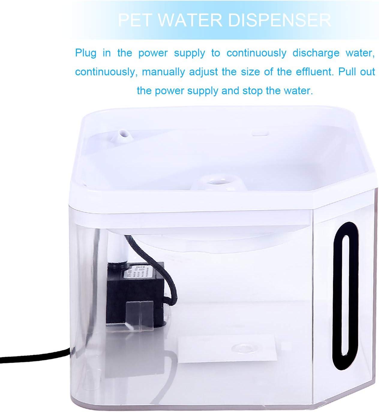 Guamar - Fuente de agua para perros y gatos, 2,5 l, dispensador automático de agua potable para mascotas, súper silencioso, transparente, sano e higiénico, con bomba extraíble lavable y filtro de carbón